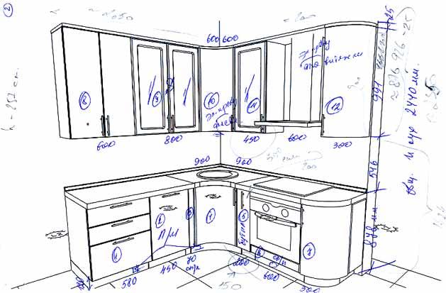 Угловая кухня своими руками чертежи мебели