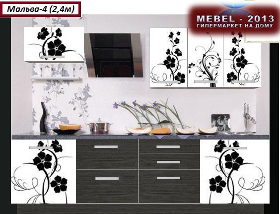 черные кухни с рисунком на фасаде