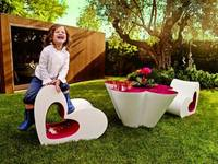 Watch. furniture is made up of two main elements: mini table and chair in the form of hearts and flowers